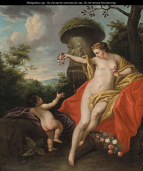 Venus And Cupid In A Parkland Landscape - French School