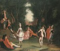 A Fete Galante With Elegant Figures In A Woodland Setting - (after) Jose Camaron Y Boronat