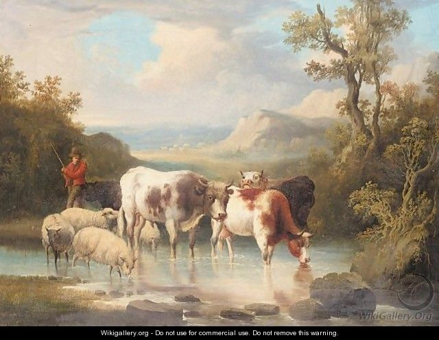 Cattle and sheep watering - Dutch School