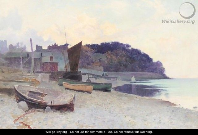 Boats moored on the beach - Arthur Claude Strachan