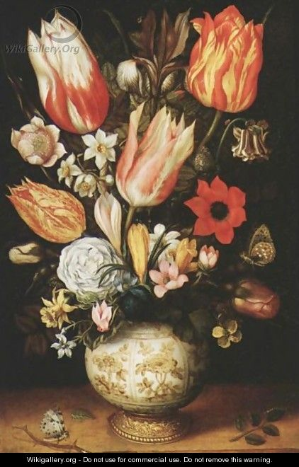 Tulips, Roses, Narcissi, Daffodils, Crocuses, An Iris, A Poppy And Other Flowers In A Gilt-Mounted Porcelain Vase On A Ledge, With A Queen Of Spain Fritillary, A White Ermine And A Magpie Butterfly - Christoffel van den Berghe