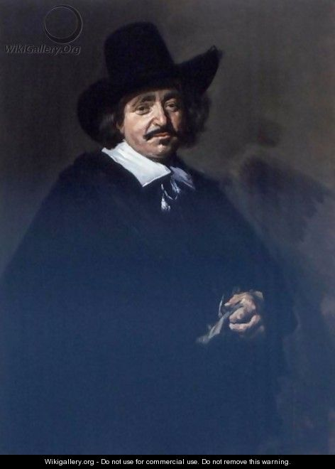 Portrait Of A Gentleman, Three-Quarter Length, In A Black Coat And Cape With A Black Hat, Holding Gloves - Frans Hals
