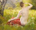 Nude in a summer landscape - Emile Louis Foubert
