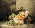 Still life of peaches and apples in a basket - Albert Patte