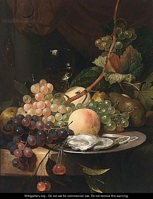 A Still Life With A Roemer And Grapes With Peaches On A Silver Plate - Dutch School