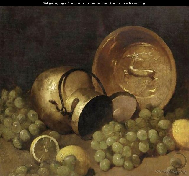 Copper Pots, Lemons And Grapes - Emil Carlsen