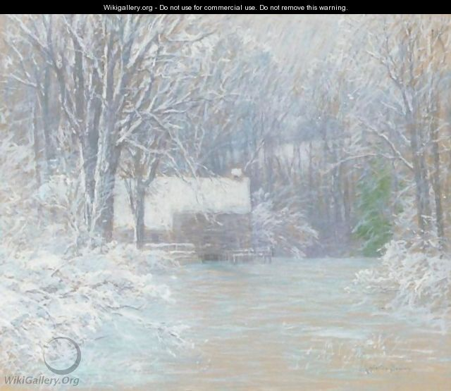 House In The Woods, Winter - John Appleton Brown