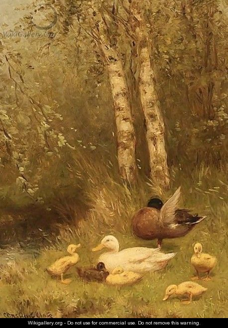 Duck With Ducklings On The Riverside - David Adolf Constant Artz