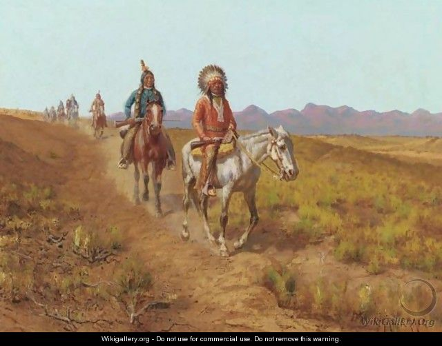 Indians On Horses Riding Along A Trail - Charles Craig