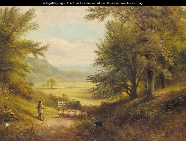 Shepherd on a woodland track - English School
