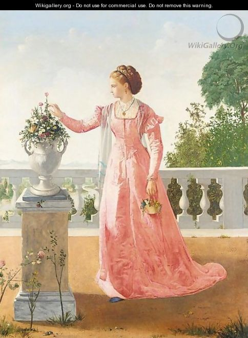 Portrait of a lady in pink satin dress, standing on a veranda - Henry Thomas Schafer