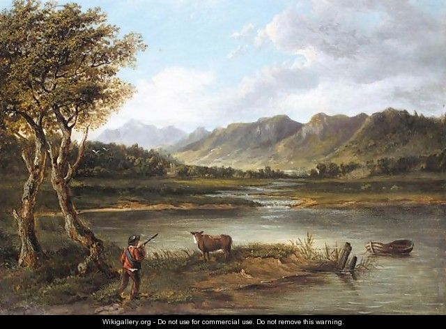Boy deside a loch - (after) Patrick Nasmyth