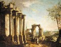 A Capriccio Scene With Figures Before Classical Ruins - (after) Michele Marieschi