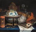 Still Life With A Globe, A Violin, Hourglass, And An Order - (after) Simon Renard De Saint-Andre
