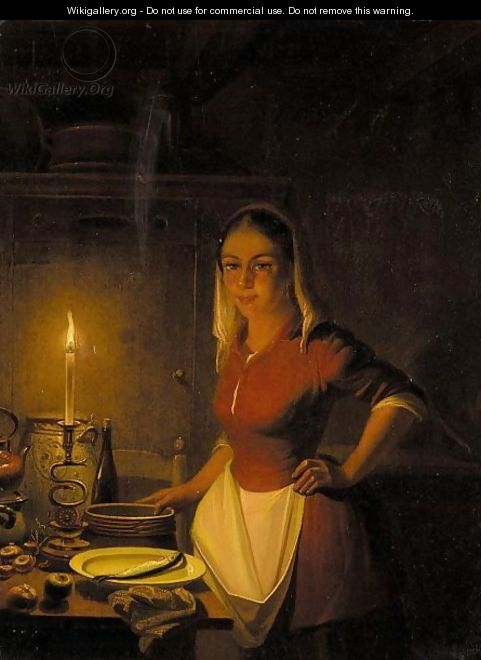 Parlour Maid By Candlelight - Pieter Gerardus Sjamaar