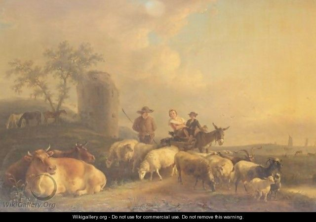 Dutch Landscape With Drover And Sheep - Jean Baptiste De Roy