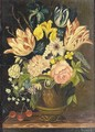 Still Life Of Flowers In A Stone Urn - (after) Paul Theodor Van Brussel
