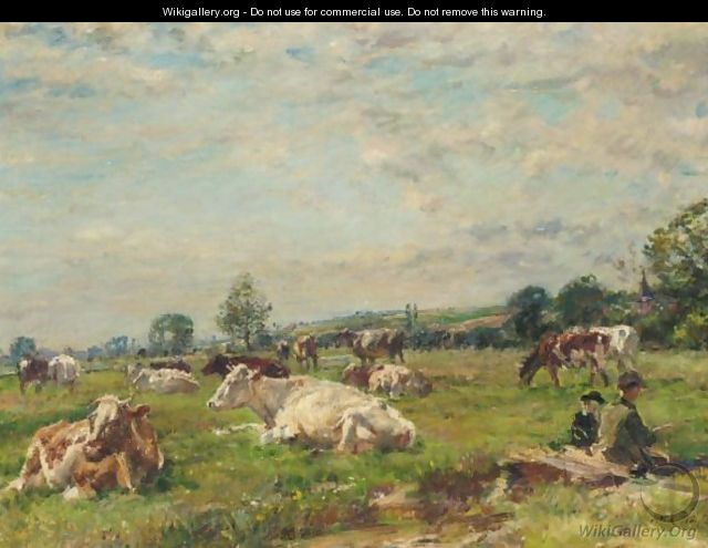 Cattle In A Meadow - William Mark Fisher