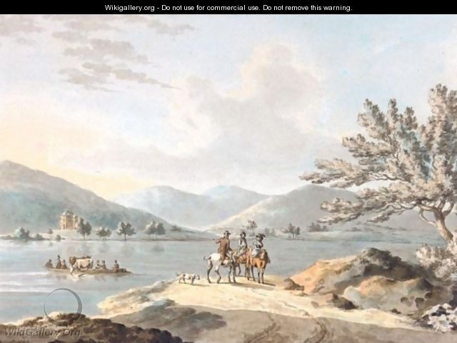 Figures On Horseback By Lake Windermere, Belle Isle Beyond - Peter La Cave