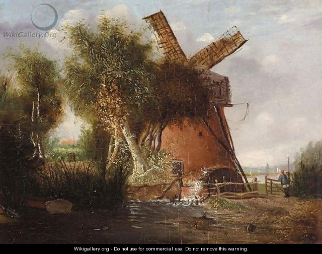 A Norfolk Landscape With A Windmill - Alfred Stannard