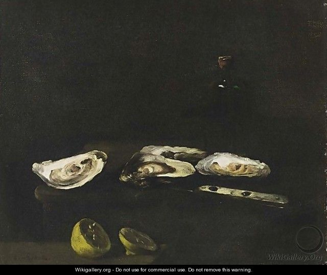 A Still Life With Oysters - Theodule Augustine Ribot