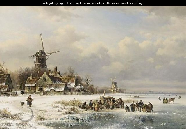 Skaters On A Frozen River Near A A