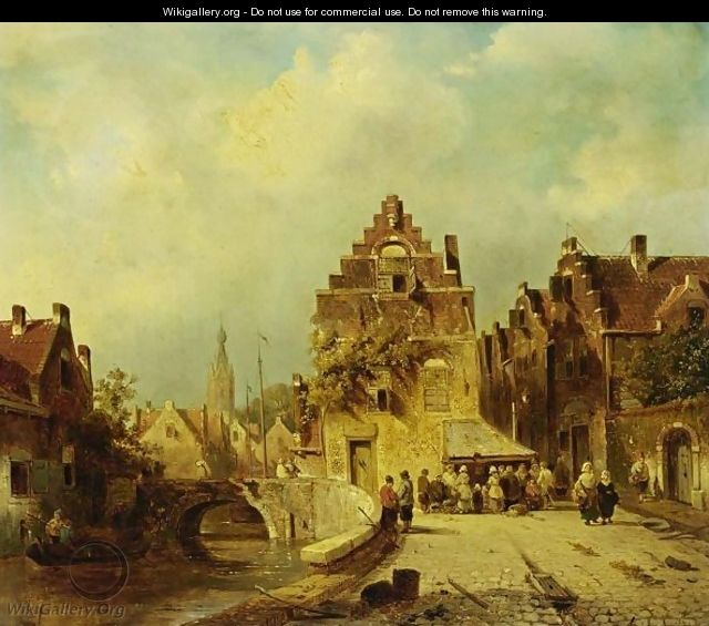 Villagers In The Streets Of A Dutch Town - Charles Henri Leickert