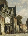 Figures Near A Church Entrance - Adrianus Eversen
