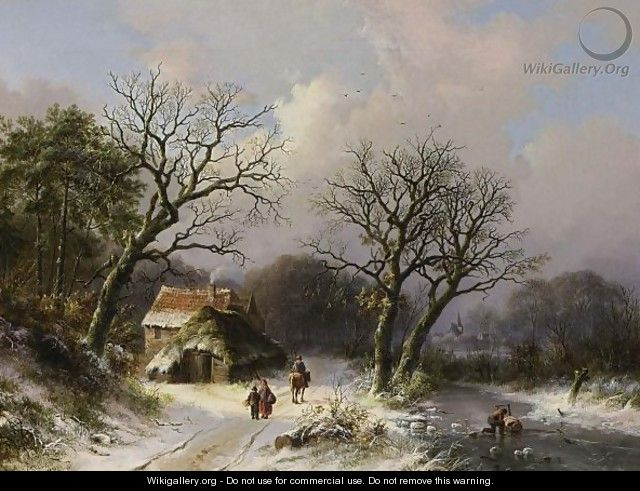 Figures On A Path In A Snow Covered Landscape - Johann Bernard Klombeck