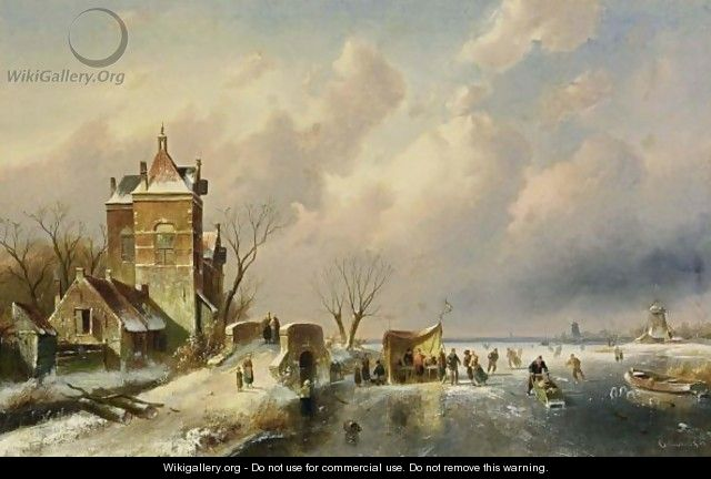 Skaters On The Ice Near A A´koek En Zopie A´ - Charles Henri Leickert