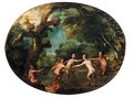 A Wooded Landscape With Satyrs Dancing - (after) Denys Van Alsloot
