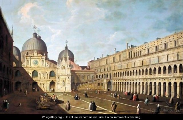 Venice, A View Of The Basilica Di San Marco From The Courtyard Of The Doge