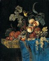 Still Life Of Apricots, Plums, Red And White Currants And Strawberries Arranged On A Marble Ledge Draped With A Blue Cloth And A Bird - Willem Van Aelst