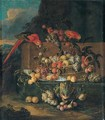 Still Life Of Fruits In A Basket And A Blue And White Dish With A Parrot In A Landscape - Jan Pauwel II the Younger Gillemans
