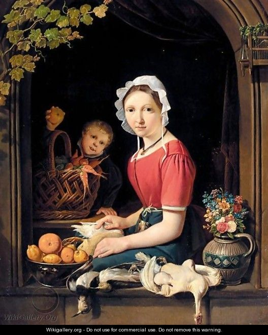 A Young Woman Seated At A Window Plucking Fowl, With A Boy Behind Holding An Apple - Dutch School