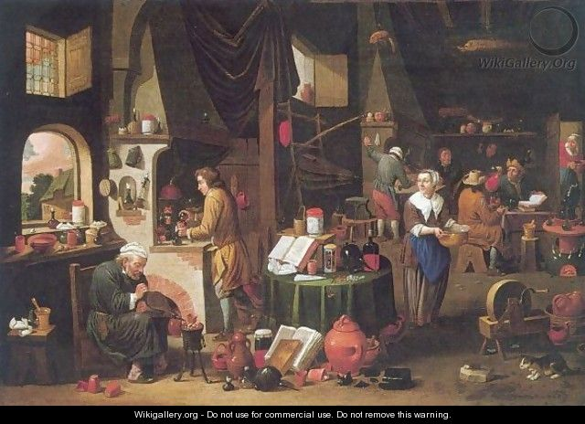 Interior With An Alchemist And His Assistants At Work - Victor Mahu