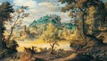 A River Landscape With A Traveller Crossing A Bridge In The Foreground, A Town Beyond - (after) Paul Bril