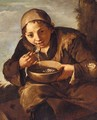 A Seated Young Boy Eating Soup - (after) Giacomo Francesco Cipper