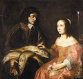 A Cavalier Offering A Seated Young Lady A Plate Of Fish - Dutch School