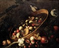 Still Life With A Basket, Mushrooms, Onions, Tomatoes, And Grapes Together With Other Vegetables And Song Birds. - (after) Felice Boselli