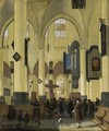 An Interior Of A Protestant Gothic Church With Figures During A Sermon - Hendrick Van Streek