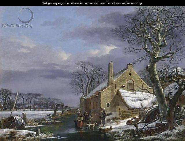 A Winter Landscape With Figures And A Dog On A Frozen Ditch Near A Farmhouse, A Village In The Background - Arnoldus Van Well Dordrecht