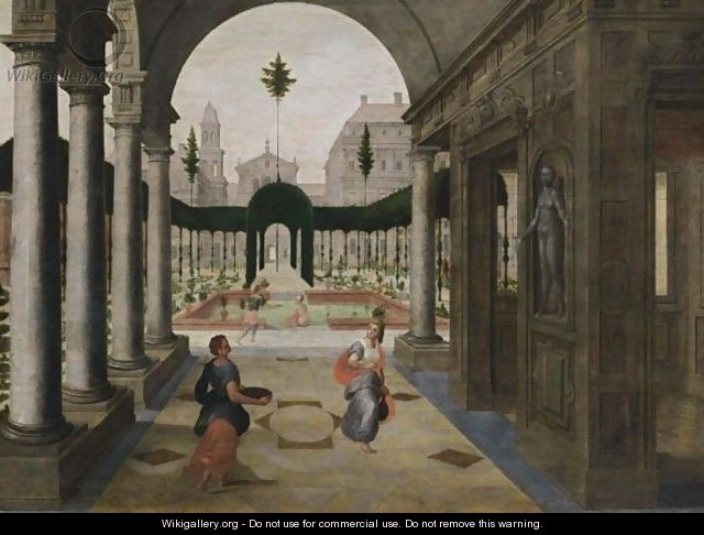 An Architectural Capriccio With King David And Bathseba - Antwerp School