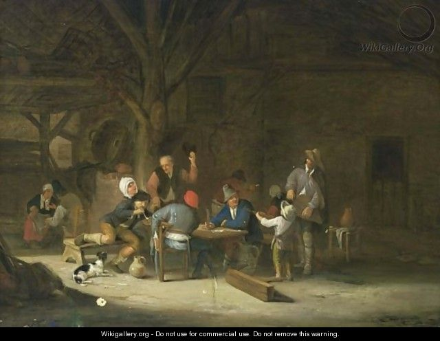 A Barn Interior With Peasants Drinking, Smoking And Making Music - Ferdinand de Braekeleer