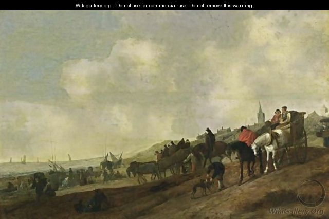 A Beach Scene With Fishermen Unloading Their Catch, And Figures Arriving In Horse-Drawn Carts Together With Dogs, A Church Tower And A Village Beyond - (after) Cornelis Beelt