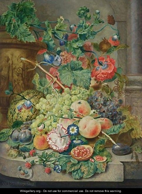 A Still Life With Grapes, Peaches, Prunes, A Melon, A Pomegranate, Raspberries, Together With Morning Glory, An Opium Poppy, Hollyhocks And A Rose, All On A Marble Ledge Together With A Butterfly, A Fly And Ants - Wybrand Hendriks