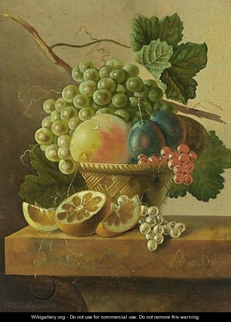 A Still Life Of Grapes, A Peach, Prunes And Red Currants In A Basket, Together With An Orange - Ohannes Cornelis De Bruyn