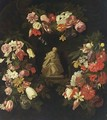 A Statue Of The Virgin And Child In A Niche Surrounded By Garlands With Tulips, Roses, Carnations, Anemonies, Daffodils, And Other Flowers - Antwerp School