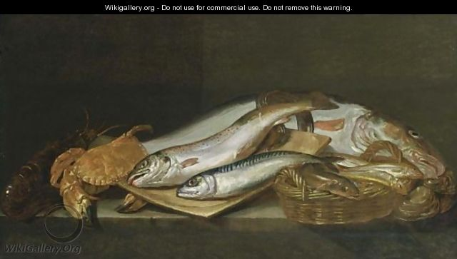 A Still Life With A Mackerel, A Salmon-Trout, A Cod, A Lobster, A Crab, An Eel Together With Other Fish In A Basket, All On A Ledge With Shell-Fish - Flemish School