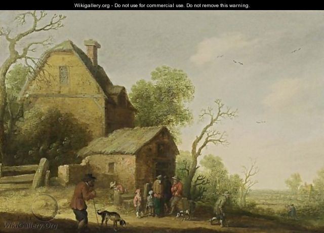 A Wooded Landscape With Figures And Dogs Sitting Outside A Tavern - Joost Cornelisz. Droochsloot